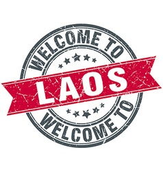 Welcome to Laos red round vintage stamp vector