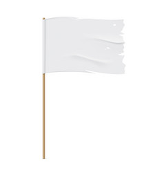 White torn flag template vector