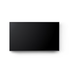 Wide television screen on wall mockup isolated vector