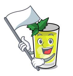 With flag mint julep mascot cartoon vector