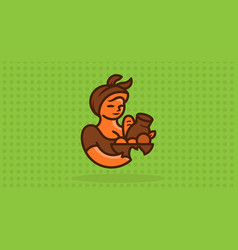 woman farmer with a basket of food vector image
