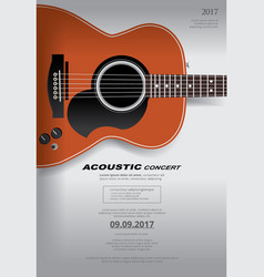 acoustic guitar concert poster background template vector image vector image