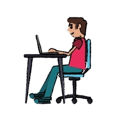 cartoon man working front computer with pc vector image