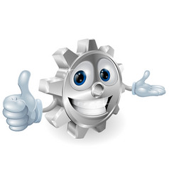 cog thumbs up mascot vector image
