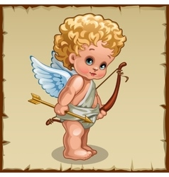 Cute boy Cupid with bow on a parchment background vector image