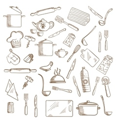 Kitchen utensil and kitchenware icons vector image vector image