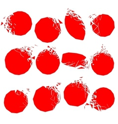 Set of red broken shapes vector
