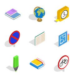 building school icons set isometric style vector image