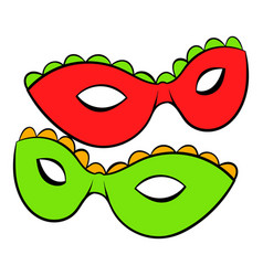 carnival masks icon cartoon vector image