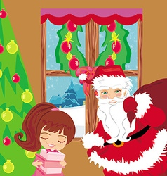 Happy little girl holding a gift from Santa Claus vector image