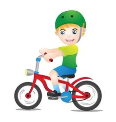 Bicycle boys using helmet vector