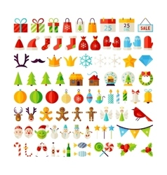 Big Set Merry Christmas Objects vector image vector image