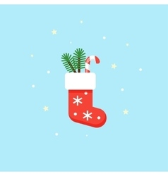 Christmas red sock with gifts inside - vector image vector image