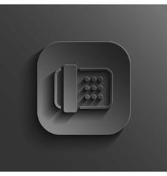 Fax machine icon - black app button vector
