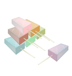 Stack of Various Flavored Popsicle Ice Creams vector image vector image