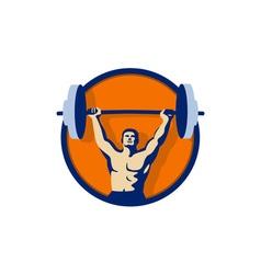 Weightlifter lifting barbell circle retro vector