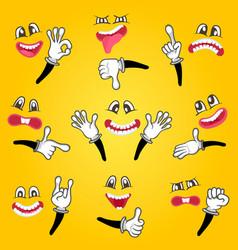 cartoon cute emoticon set vector image vector image