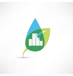 eco city with leafs vector image vector image