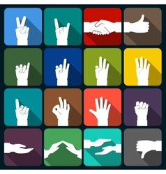 Hands icons set flat vector image