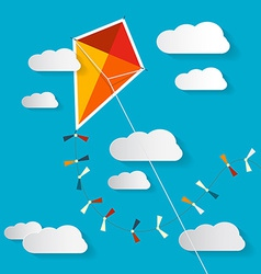 Paper Kite on Blue Sky with Clouds vector image vector image