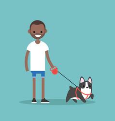 young smiling black man walking the dog flat vector image