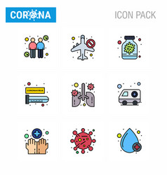 9 filled line flat color set corona virus vector