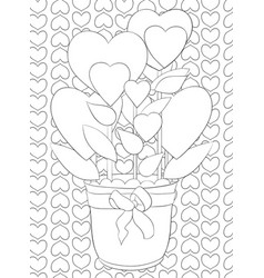 Adult coloring bookpage a cute jug with hearts vector