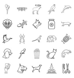 Animal icons set outline style vector