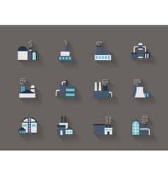 Architecture of industry flat color icons vector image