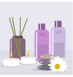 Aroma therapy set a collection of home fragrances vector