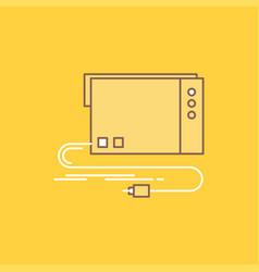 Audio card external interface sound flat line vector