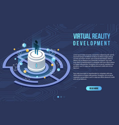 augmented reality concept isometric banner flat vector image