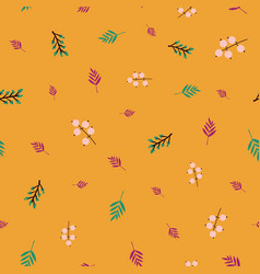 Autumn abstract doodle berries and leaves seamless vector