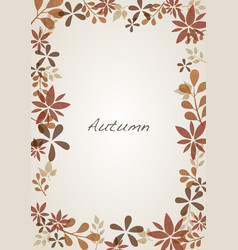 autumn flora and leaves border background vector image