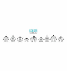background of white different robots vector image