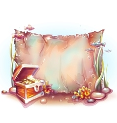 Banner with treasure chest in ocean vector