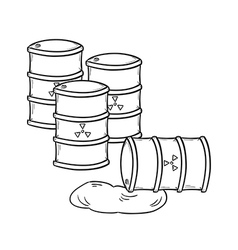 barrels with dangerous fluid vector image