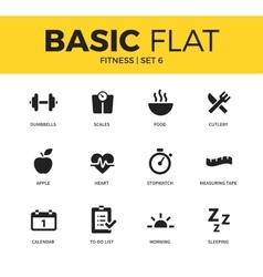 Basic set of Fitness icons vector image