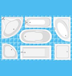 bathtub top view collection vector image