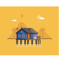 beach hut house at seaside background vector image