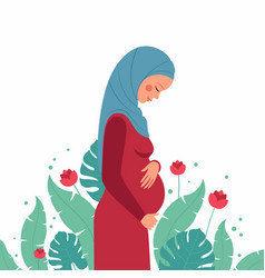 Beautiful arabian pregnant young woman vector