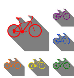 bicycle bike sign set of red orange yellow vector image