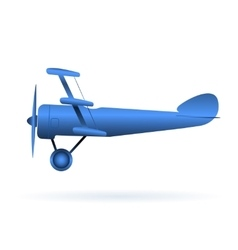 blue toy airplane over white vector image