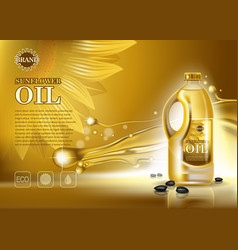 bottle of sunflower oil with seeds vector image