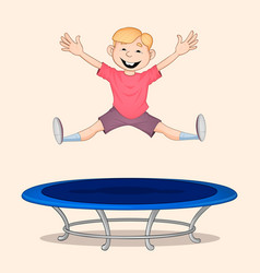 Boy jumping on trampoline vector