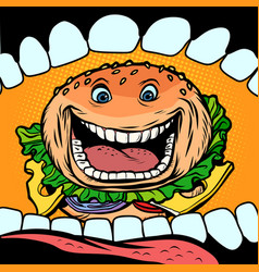 burger goes in mouth vector image