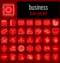 business icon set 4 white line icon on red vector image
