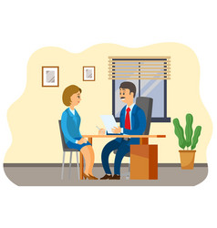 businessman and woman works together people sits vector image