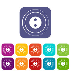 Button icons set flat vector