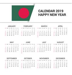 Calendar 2019 bangladesh flag background english vector